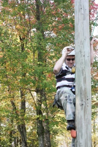 Demonstrating his dedication to MPH, Matt climbed a telephone pole at the 9th grade retreat--and then jumped off the top!