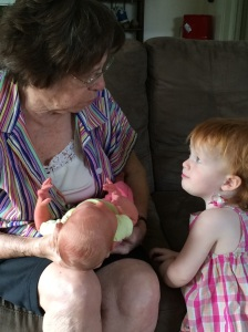 Evanny and Tabitha with their great-grandmother Max Ann.