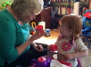 Tea with Grandma Jenny, with a brand new Peppa Pig tea set!