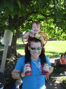 Parading home from the park on Daddy's shoulders--without even once hitting him in the head with the maraca