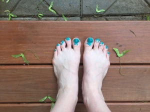 The lavish, gorgeous, outside-the-lines colouring of E's first-ever nail painting job.